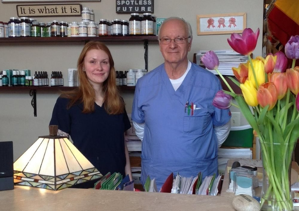Dr James R Bowman ND with clinic Assistant Garbrielle